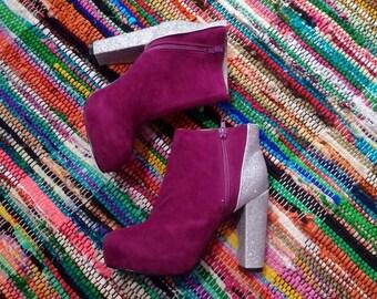 Funky Purple Booties with glitter heels SZ US 9