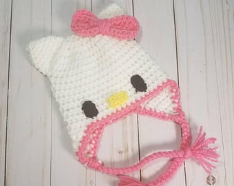 Crochet Hello Kitty Cat Baby Hat | Baby Shower Gift | Costume | Newborn to Adult