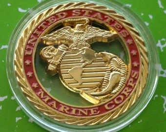 USMC Marine Corps Core Values Challenge Art Coin