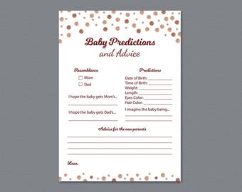 Baby Prediction Cards Printable, Rose Gold Confetti Baby Shower Games, Advice Card for the New Parents, Burgundy, Baby Statistics, B012