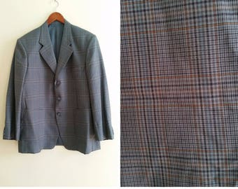 grey plaid blazer men's sports coat men's blazer 1960s sports coat grey blazer vintage menswear mens suit coat 3 button 42/ 44