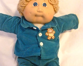 Vintage Cabbage Patch Kids Doll Boy Blonde Hair Blue Eyes Outfit Shoes Socks Shirt 1980s Curly Hair 2 Dimples 1978 1982