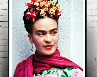Frida kahlo, Home decor, print, wall art, icon, fashion art, photography, Vintage print,