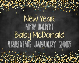 New Year New Baby, New Years Pregnancy Announcement, Pregnancy Announement