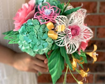 Cascading branches Paper Flower Bridal bouquet || Pink, green and gold bridal wedding flowers, forever flowers, handmade, home decor, gift