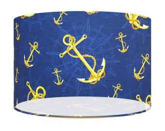 Nautical, Blue Gold Anchor, Fabric Lamp Shade, 20 30 40 Drum Lampshade, Seaside, Coastal, Home Decor Gift, Ceiling, Table/Floor Light Shade