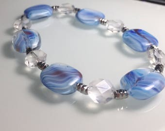 Blue Swirl Bead Stretch Bracelet