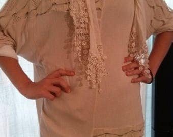 Blouse, sweater and scarf set all in cotton