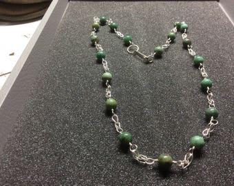 Necklace, African jade,fine silver