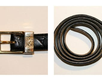 Vintage Black Leather Anne Klein Belt | Lion Belt Buckle | Croc Stamped Leather