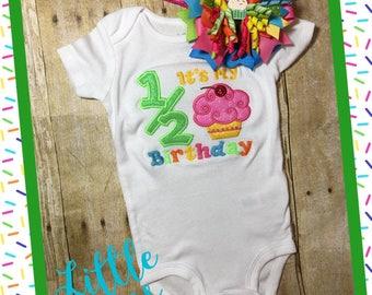 1/2 birthday onsies, half birthday onsies, half birthday, 1/2 birthday, birthday onsies, cupcake onsies, half birthday embroidery,