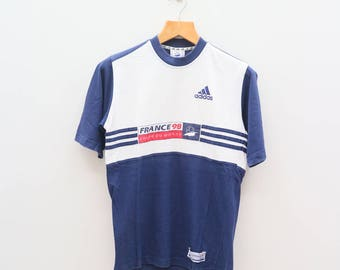 Vintage ADIDAS France 98 Coupe Du Monde Sportswear Small Logo Big Spell Blue White Tee T Shirt Size XS