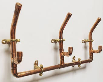 Copper coat rack, wall hooks, coat hook set, copper pipe, industrial style, rustic