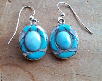 Larimar and Turquoise Inlay earring