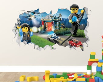 Lego City Police Adventure Wall Decal   Lego City Police Smashed Sticker    Kids 3D Smashed