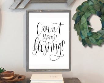 Count Your Blessings - Hand Lettered Print