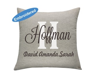 Pillow Covers Embroidered Personalised Pillow Cover,House warming gift,Wedding day Pillowcase,Name Pillow,Family name Pillow cover.