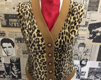 "Vintage Leopard Print Faux Fur Waistcoat Vest by Harella Button up Size 10-12 36"" FREE WORLDWIDE POSTAGE"