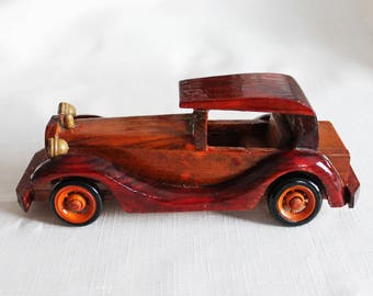 Easter gifts for him etsy vintage hand crafted wooden car figurine vilentine easter gift for him ford automobile miniature car gift negle Gallery