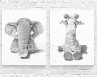 Elephant Print, Giraffe Print, Safari Nursery, Safari Animal, Zoo Animal, Giraffe Nursery, Elephant Nursery, Zoo Nursery, Baby Animal Prints