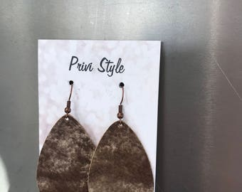 Multi Brown, Leather, Teardrop Earrings
