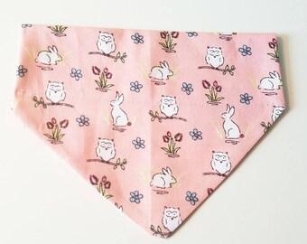 Pink Owl Rabbit Summer Meadow Dog Pet Bandana