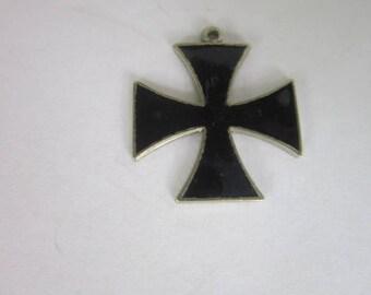 Vintage Black Enameled Silver Tone Maltese Cross Necklace Pendant Retro