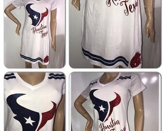 ON SALE Texans Glitter Dress   Houston Texans dress   Texans  Glitter tshirt dress   Houston v neck glitter dress