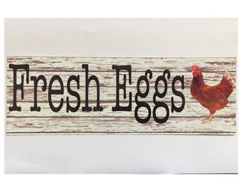 Fresh Eggs Rooster Chicken Sign Coop Farm Country House Large