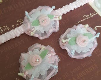 Baby Floral Elastic Headbands & Velcro Clip Set 0m-1years, Baby Girl, Photography prop