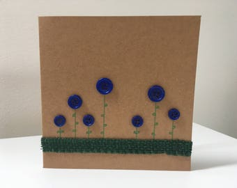 Blue Button Flower Garden Blank Card Birthday Thank you Anniversary Thinking of you