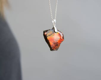 Red Scarlet Ammolite Pendant On 925 Silver Bail