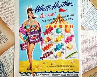 vintage chocolate Advertising page ephemera 1950s
