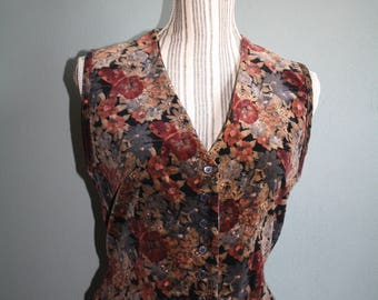 Pretty Grey, Brown, Black Floral Velvet Button Down Vest