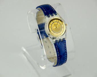 Ultra Rare Vintage 1994 Swatch Blue Leather Band Gold Face Watch