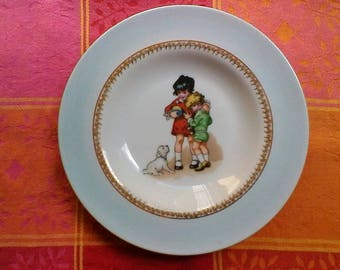 Cute child's plate - vintage French Limoges porcelaine gold etched plate