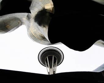 Digital Download Photography - Seattle Washington Space Needle Abstract