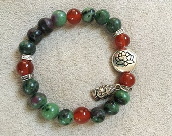 Zoisite with Ruby and Carnelian Healing Bracelet