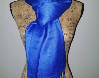 Travelsmith silk pashmina fringe blue scarf or shawl