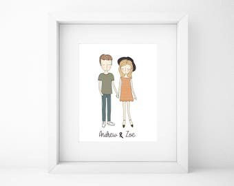 Custom Couple Illustration/Family Portrait/Custom Family Illustration/Couple Illustration/Gift for him/Gift for her/Wall Art/Home Decor