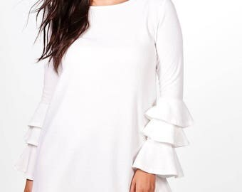 Crepe Neckline Shift Dress - Ruffle Sleeve Midi Dress
