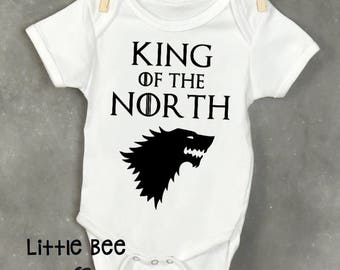 King of the north, Game of thrones, Baby boy, Baby Onesie, GOT, New Baby, Baby shower gift, Funny baby onesie, Pregnancy gifts, Geek