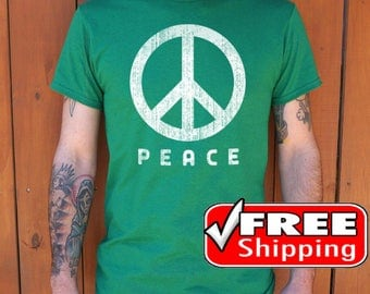 Peace Shirt, Peace And Love Shirt, Peace Sign, Peace Clothing, Hipster Shirt, World Peace Tee, Free Shipping, Vintage T shirt, Handmade Tee