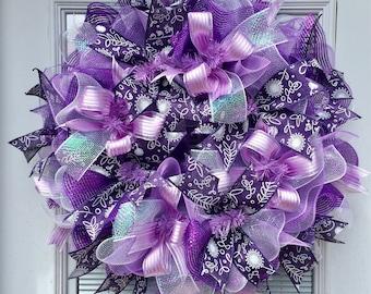 Deco mesh wreath, Spring wreath, purple wreath, summer wreath, Beautiful Purple Wreath, Easter Wreath
