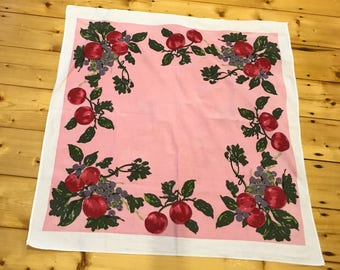 Pretty Pinks Fruits & Leaves Little Square Vintage Tablecloth with white border.