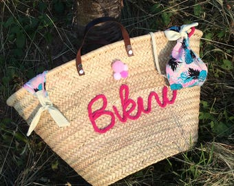 Basket of beach, shopping cart, bag or customizable Tote without tassels