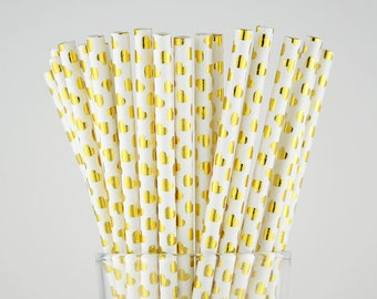 Gold Foil Sweet Hearts Paper Straws - Party Decor Supply - Cake Pop Sticks - Party Favor
