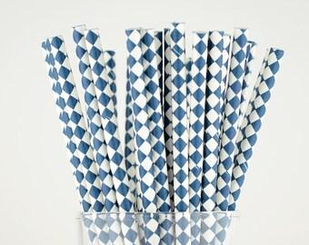 Navy Blue Diamond Paper Straws - Mason Jar Straws - Party Decor Supply - Cake Pop Sticks - Party Favor