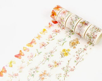 Set of 5 Rolls Butterfly and Flowers Washi Tape - 25mm/30mm x 8m - Gift Wrapping - Decorative Tape - Scrapbooking Sticker