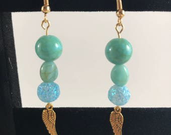 3-Bead Earrings with Wing